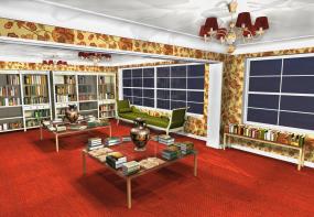 Interjera projekts - antikvāras grāmatnīcas dizaina koncepcija